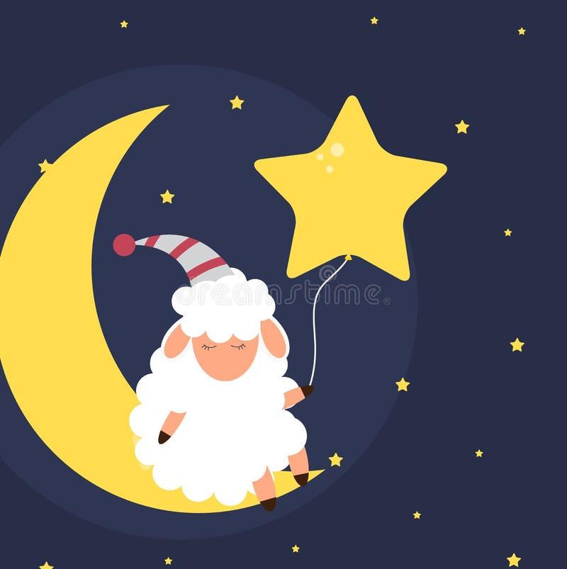 Nette kleine Schafe auf dem nächtlichen Himmel Süße Träume Auch im corel abgehobenen Betrag stock abbildung