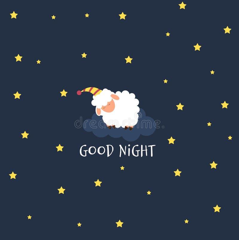 Nette kleine Schafe auf dem nächtlichen Himmel Süße Träume Auch im corel abgehobenen Betrag lizenzfreie abbildung