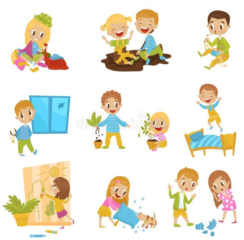 Nette kleine Tyrannkinder stellten, nette Kinder des Strolchs, schlechte Kinderverhalten-Vektor Illustrationen auf einem weißen H lizenzfreie abbildung