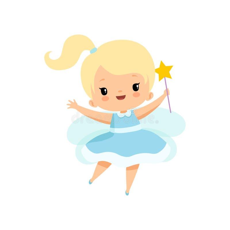 Nette kleine Zahn-Fee mit magischem Stab, reizende blonde feenhafte Mädchen-Zeichentrickfilm-Figur im hellblauen Kleid mit Flügel stock abbildung