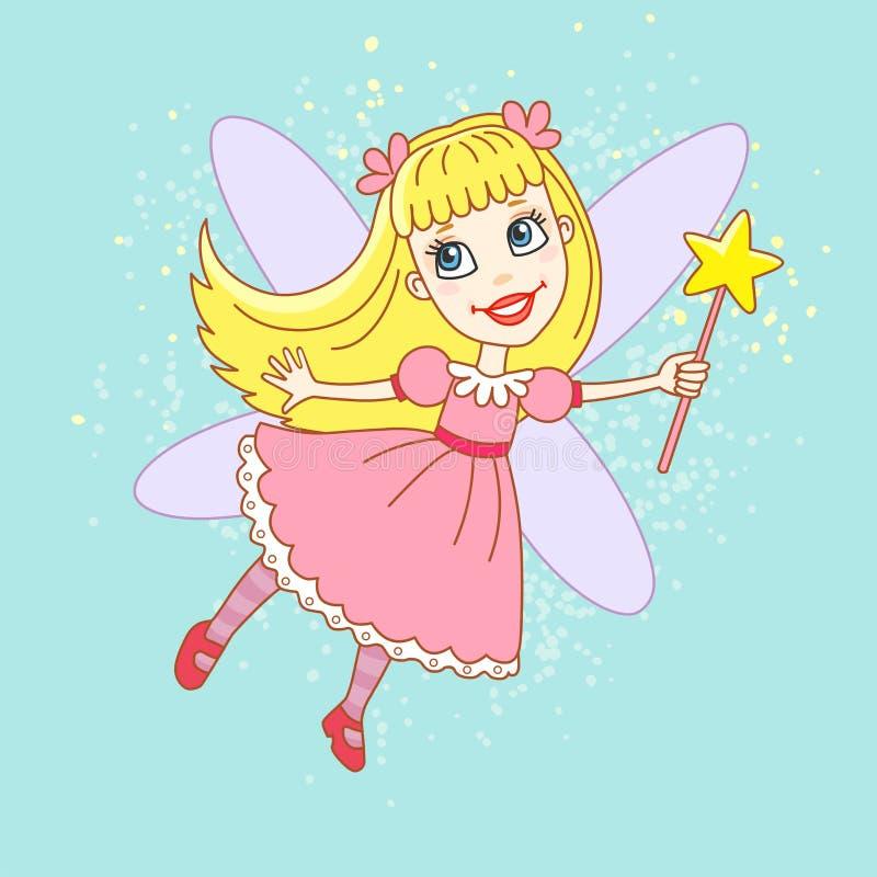 Nette kleine Zahnfee in einem rosa Kleid mit Stab auf abstraktem Hintergrund lizenzfreie abbildung