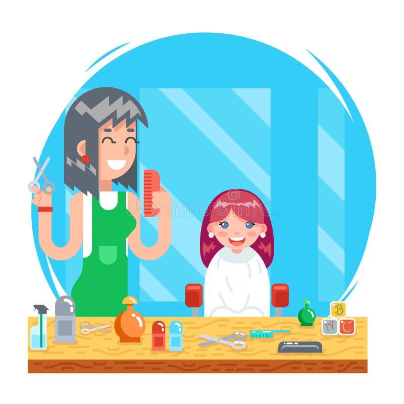 Nette kleinen flache Schablone des Mädchens des Kinderjugendlichfriseurcharakters und des Konzeptes des Entwurfes der weiblichen  lizenzfreie abbildung