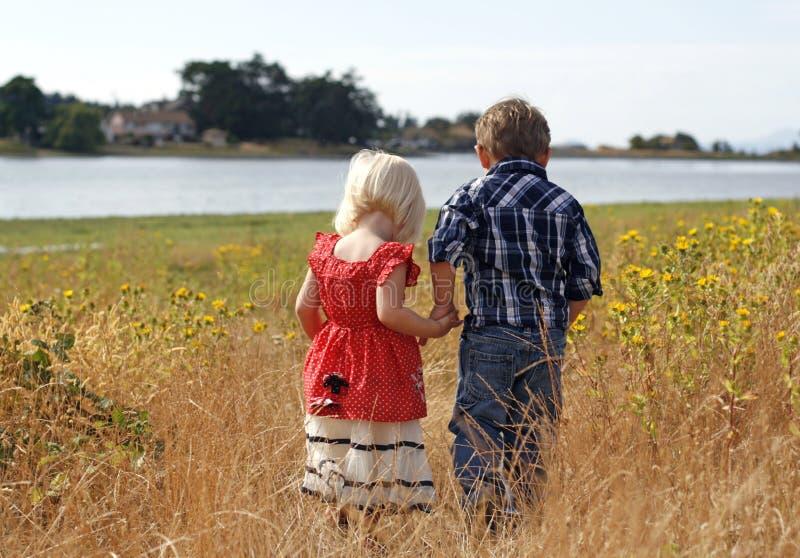 Nette kleines Mädchen-und Jungen-Holding-Hände stockfoto
