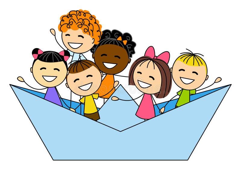 Nette Kleinkinder im Papierboot vektor abbildung