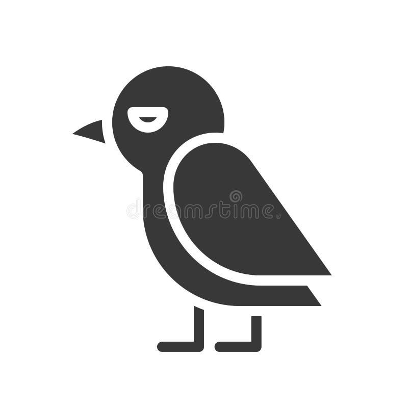 Nette Krähenvogel-Vektorikone, Halloween-Charakter lizenzfreie abbildung