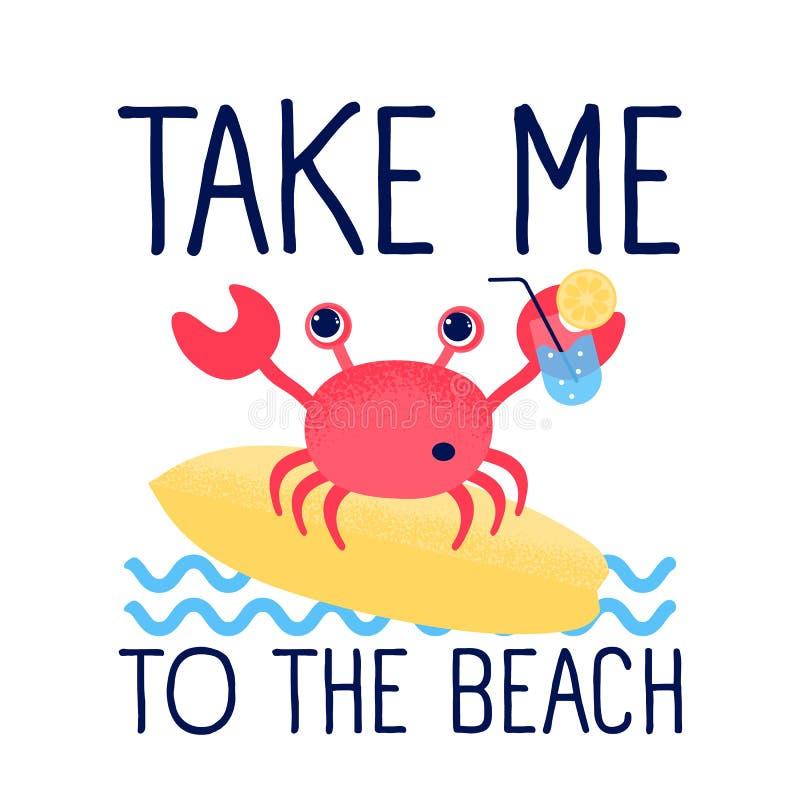 Nette Krabbe der Karikatur und Sommerillustrationsvektor stock abbildung