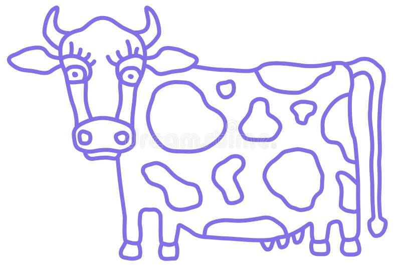 Nette Kuhkarikatur mit Seitenansicht der Blume Karikaturart, einfarbige einfache Skizze Vektor lizenzfreie abbildung