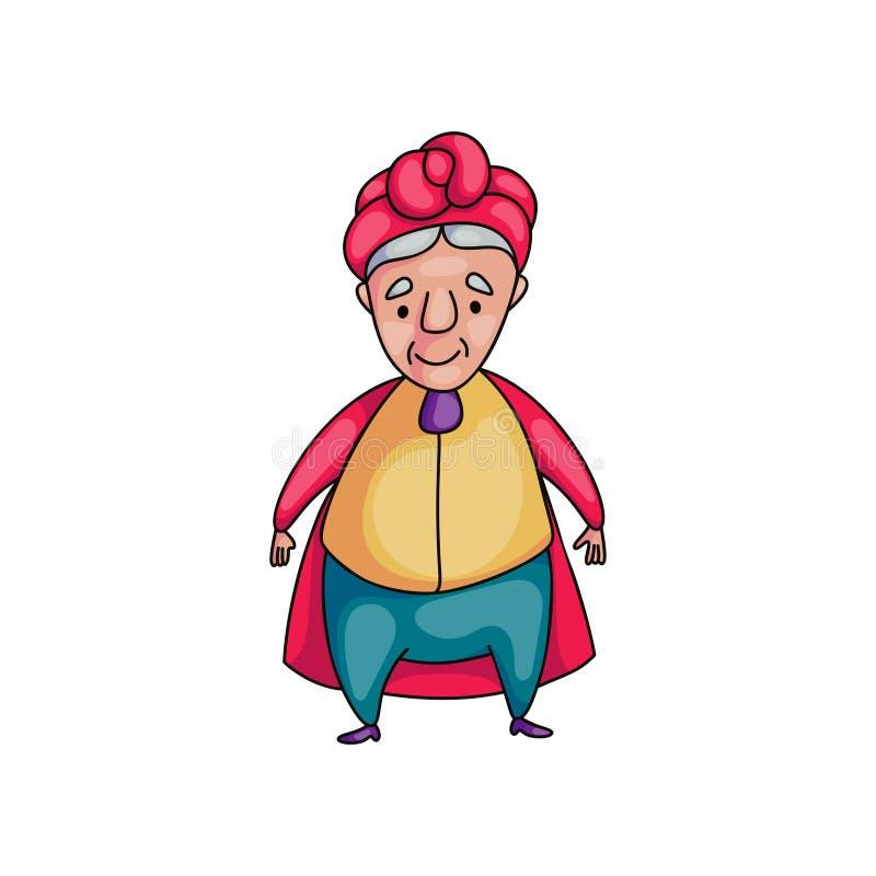 Nette lächelnde ältere Frau mit dem roten Mantel bereit zum Gehen lizenzfreie abbildung