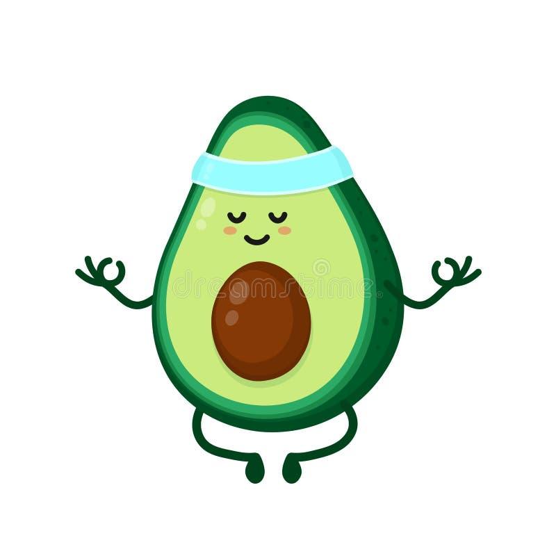 Nette lächelnde glückliche starke Avocado stock abbildung
