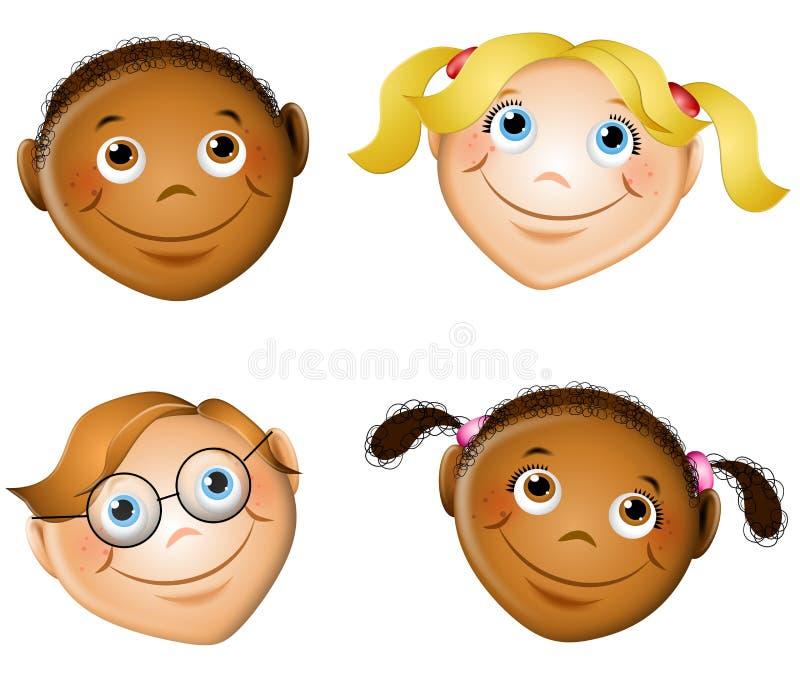 Nette lächelnde Kind-Gesichter stock abbildung