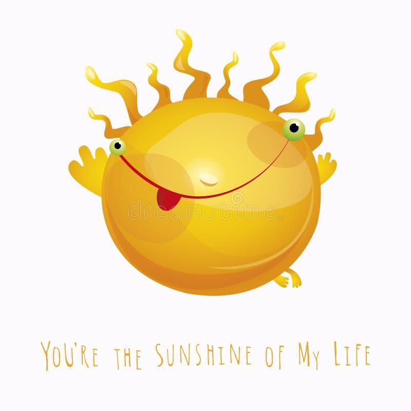 Nette lächelnde Sonne mit dem Flammenhaar mit Text sind Sie Sonnenschein von m vektor abbildung
