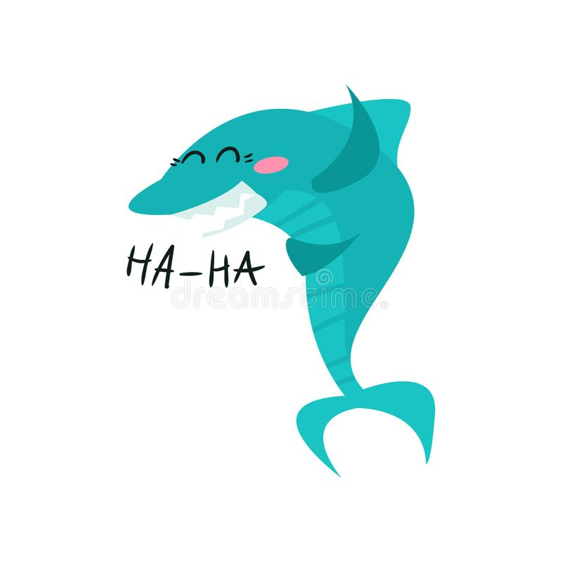 Nette lachende Haifischzeichentrickfilm-figur, lustige blaue Fische vector Illustration vektor abbildung