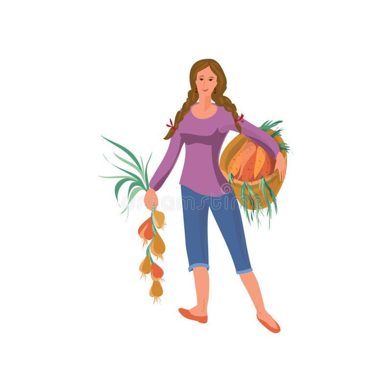 Nette Landwirtfrau nimmt eco Zwiebel und Karotten lizenzfreie abbildung