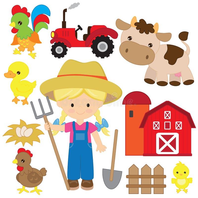 Nette Landwirtmädchenvektor-Karikaturillustration Vieh-Vektorkarikaturillustration stockbilder
