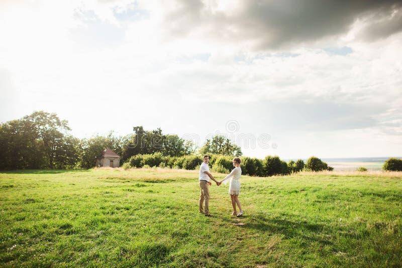 Nette leichte Paare, die in die grüne Wiese gehen Junge liebevolle Familie, die Frühlingszeit genießt stockfotografie