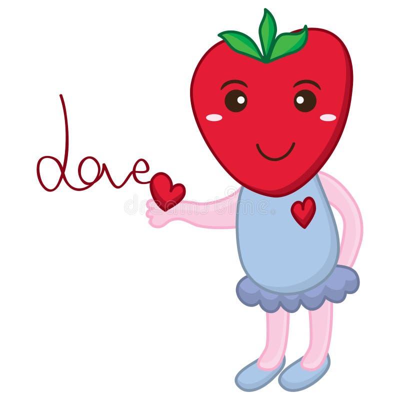 Nette Liebe des Erdbeerbabys lizenzfreie abbildung