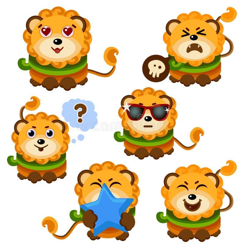 Nette Lion Face Emoticon Emoji Expressions-Illustration lizenzfreie abbildung