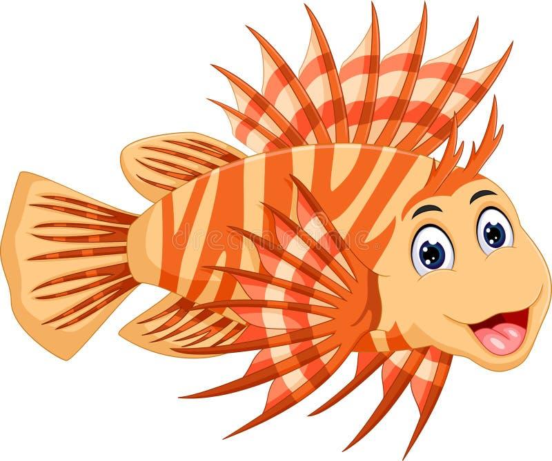Nette Lionfishkarikatur, die mit dem Lachen aufwirft lizenzfreie abbildung