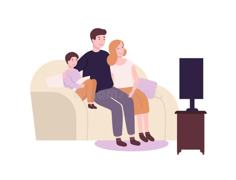 Nette lustige Familie, die auf Couch oder Sofa und Aufpassen Fernsehen, Film oder Film sitzt Entz?ckende frohe Mutter, Vater und  stock abbildung