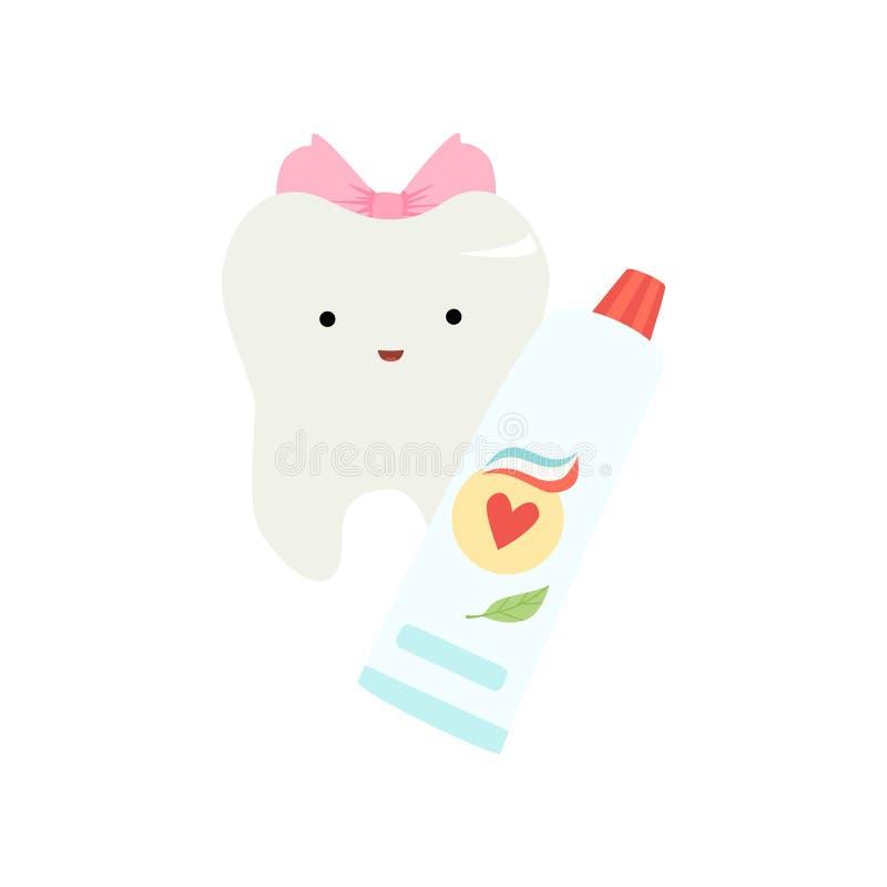 Nette lustige gesunde Zahn-Zeichentrickfilm-Figur mit Rohr der Zahnpasta, Kinderzähne interessieren sich Vektor-Illustration vektor abbildung