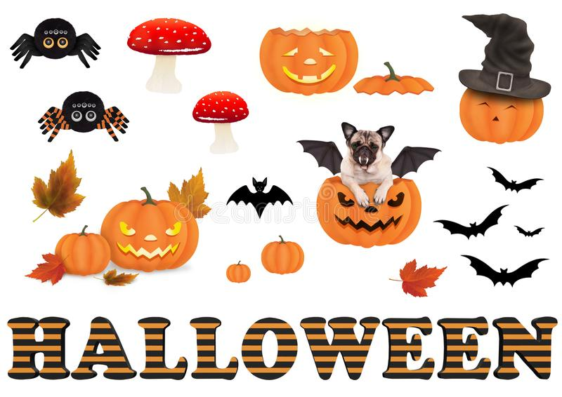 Nette lustige Halloween-Dekorationselemente, stock abbildung