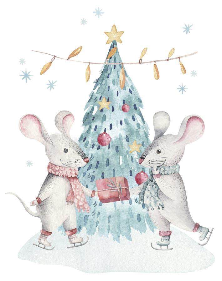 Nette lustige Karikaturweihnachtsmäuseweihnachtskarte Tierillustration der Aquarellhandgezogenen Ratte Feiertag des neuen Jahres  lizenzfreies stockbild