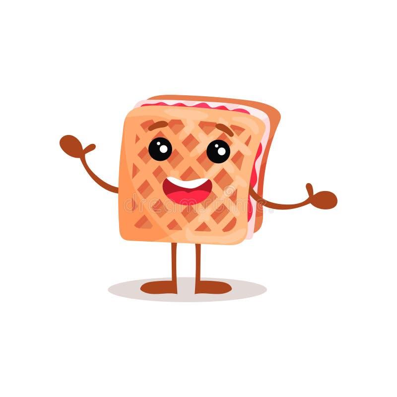 Nette lustige Zeichentrickfilm-Figur-Vektor Illustration des Sandwichkekses mit Sahne vektor abbildung