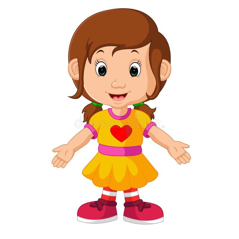 Nette Mädchenkarikatur lizenzfreie abbildung
