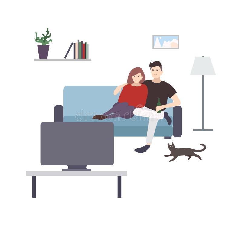 Nette männliche und weibliche Zeichentrickfilm-Figuren, die auf gemütlicher Couch sitzen vektor abbildung