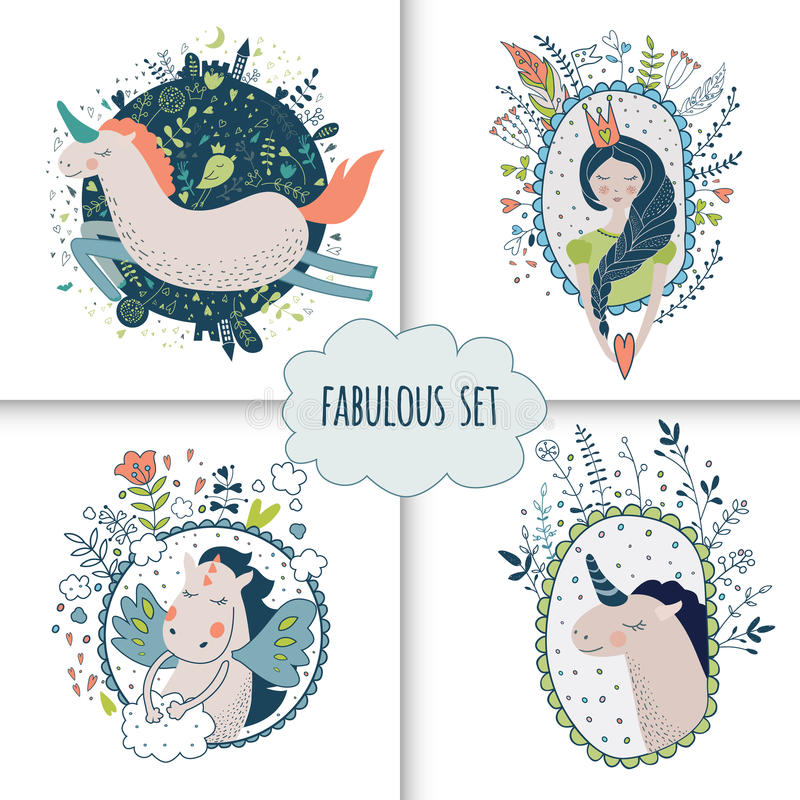 Nette magische Sammlung mit Prinzessin, Einhorn, Regenbogen, Drache stock abbildung