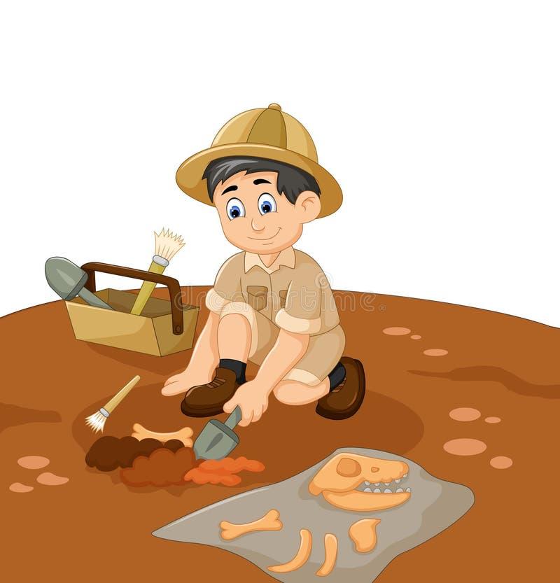 Nette Mann Archäologenkarikatur, die Fossil sucht lizenzfreie abbildung