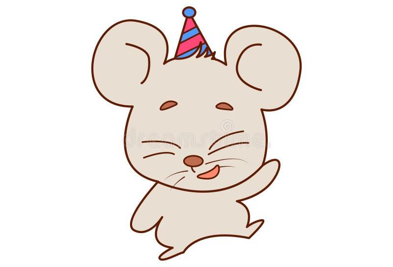 Nette Maus, die eine Parteikappe und -c$tanzen trägt stock abbildung