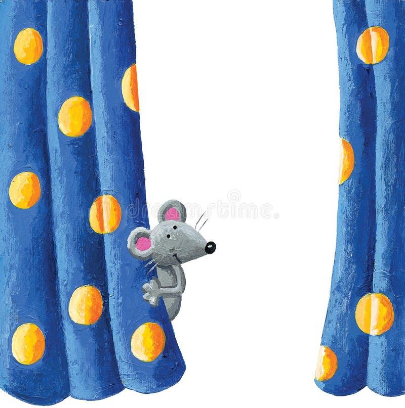 Nette Maus, die hinter dem Vorhang sich versteckt stock abbildung