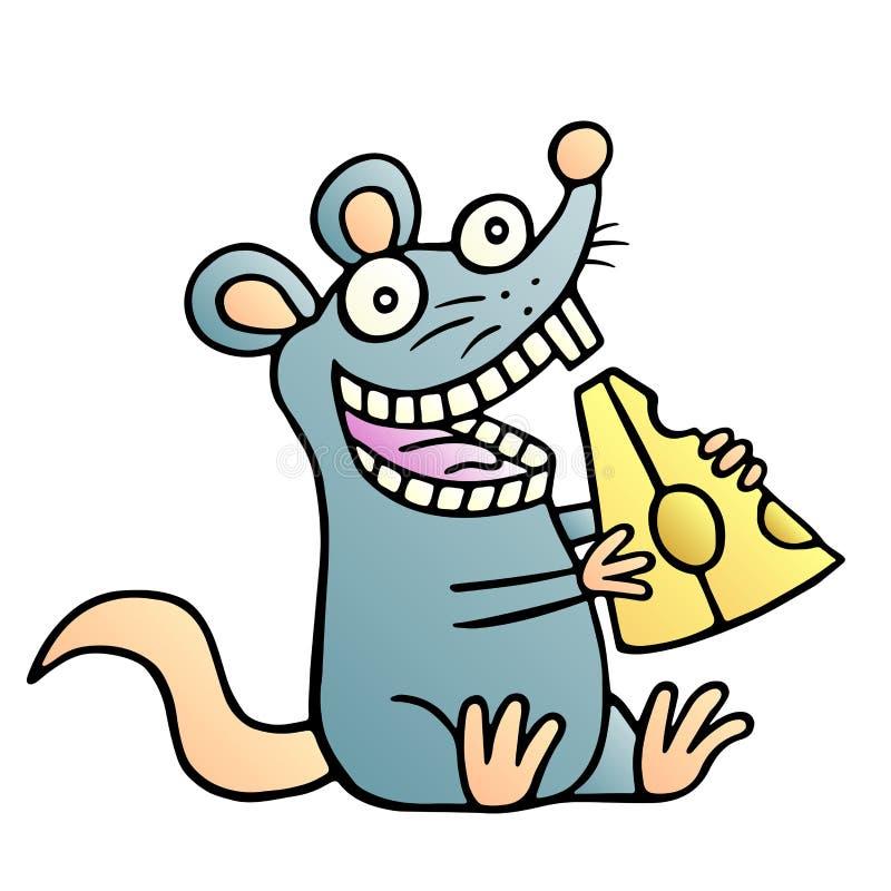 Nette Maus fanden ein Stück Käse und glückliches Auch im corel abgehobenen Betrag vektor abbildung