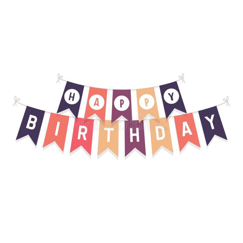 Nette mit dem Kopfe stoßende Flaggen mit Buchstaben alles Gute zum Geburtstag lokalisiert auf weißem Hintergrund vektor abbildung