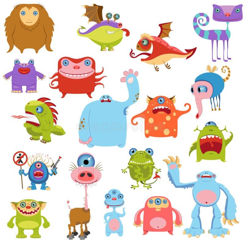 Nette Monster der Karikatur eingestellt lizenzfreie abbildung