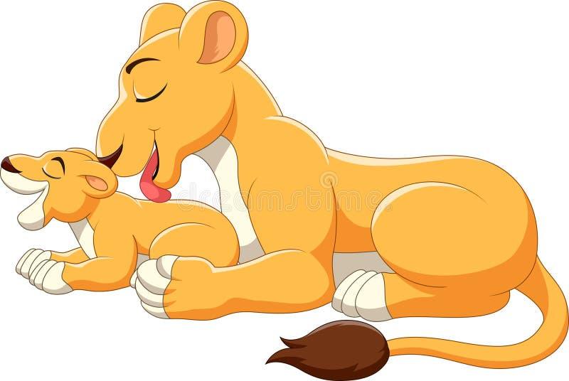 Nette Mutter- und Babylöwekarikatur lizenzfreie abbildung