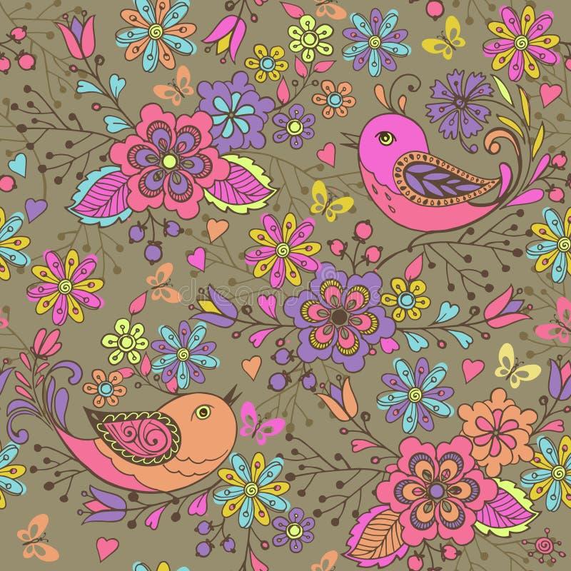 Nette nahtlose mit Blumenvögel und Schmetterlinge des Musters c auf einem braunen Hintergrund Nahtloses Muster mit den blauen, ro vektor abbildung