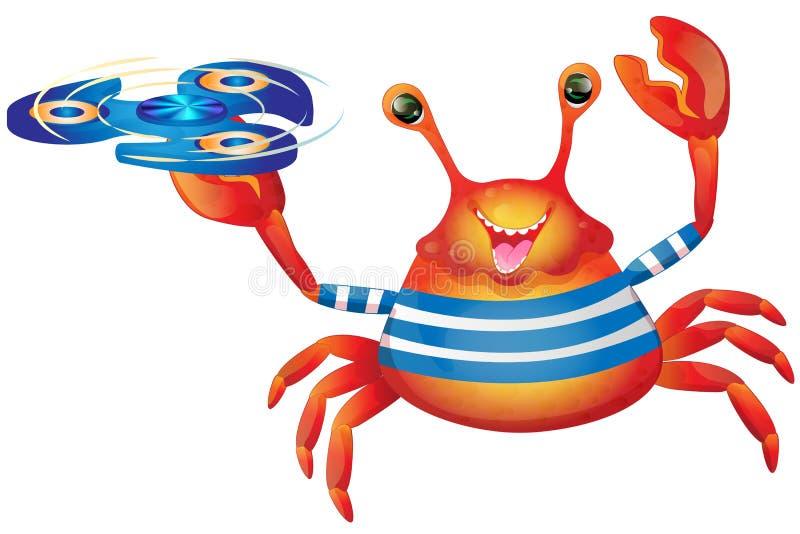 Nette nette Krabbe der Karikatur mit Spinner vektor abbildung