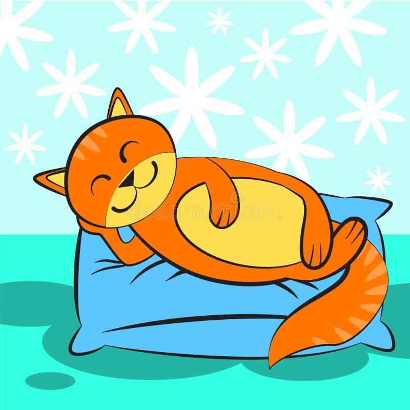 Nette orange Katze, die auf Blau und einem weichen Kissen schläft vektor abbildung