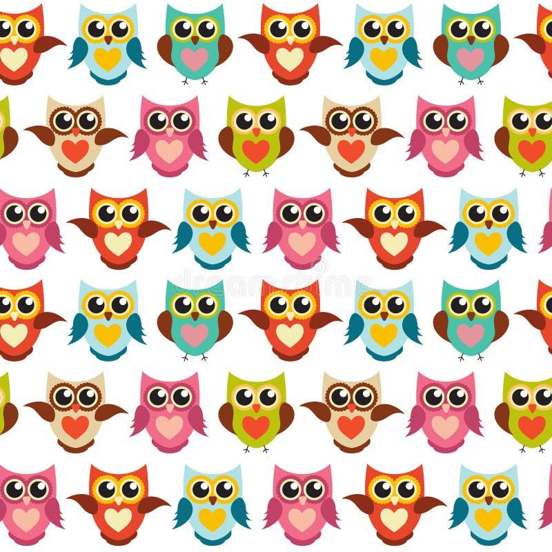 Nette Owl Seamless Pattern Background Vector-Illustration lizenzfreie abbildung