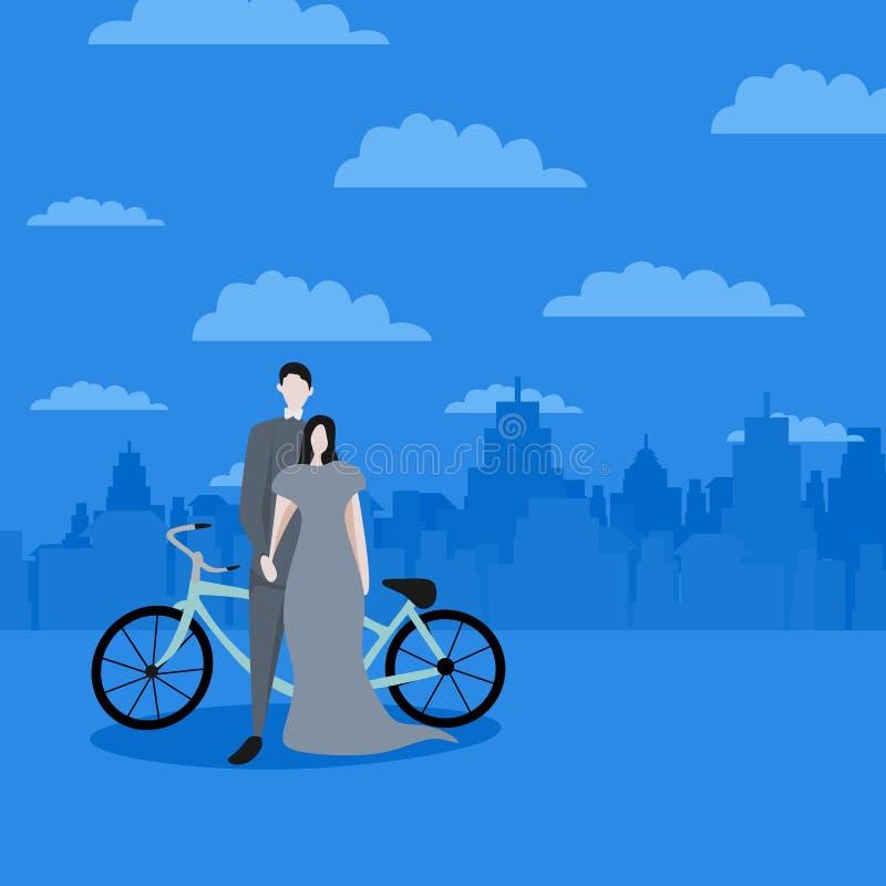 Nette Paare in der Liebe für Valentine' s-Tagesgrußentwurfs-Hintergrundfahne und Plakatschablone mit Zeichentrickfilm-Figur- lizenzfreie abbildung