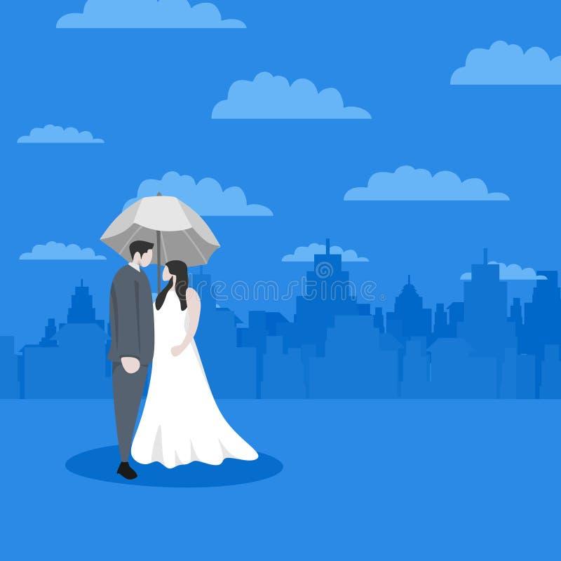 Nette Paare in der Liebe für Valentine' s-Tagesgrußentwurfs-Hintergrundfahne und Plakatschablone mit Zeichentrickfilm-Figur- vektor abbildung