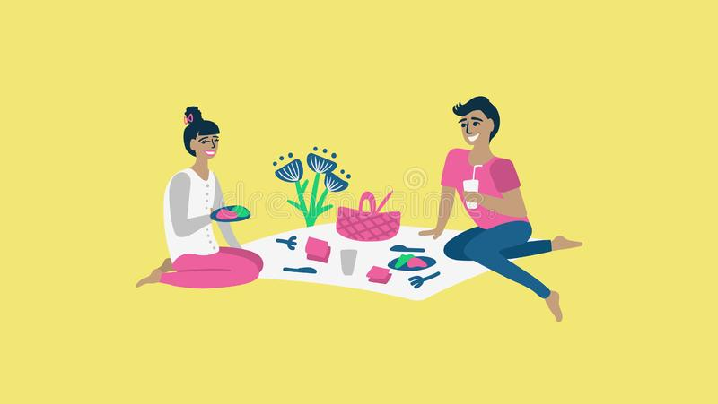Nette Paare, die zu Mittag essen lizenzfreie abbildung
