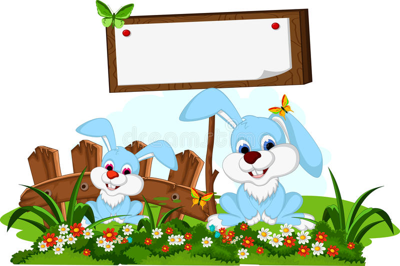 Nette Paarkaninchenkarikatur mit leerem Brett im Blumengarten stock abbildung