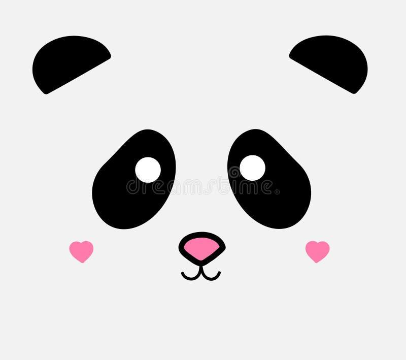 Nette Pandagesichts-Vektorillustration lizenzfreie abbildung