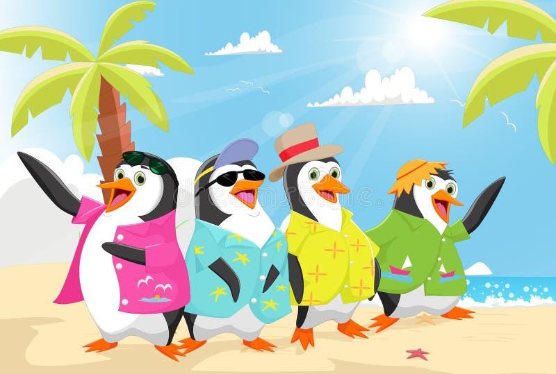 Nette Pinguine auf dem Strandsommer lizenzfreie abbildung