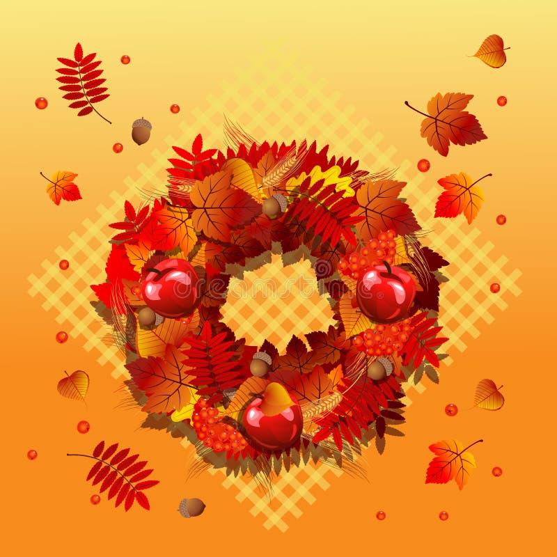 Nette Plakat- oder Grußkarte mit modernem Design auf Thema des goldenen Herbstes Aufwändiger Hintergrund von gefallenen Herbstbau lizenzfreie abbildung