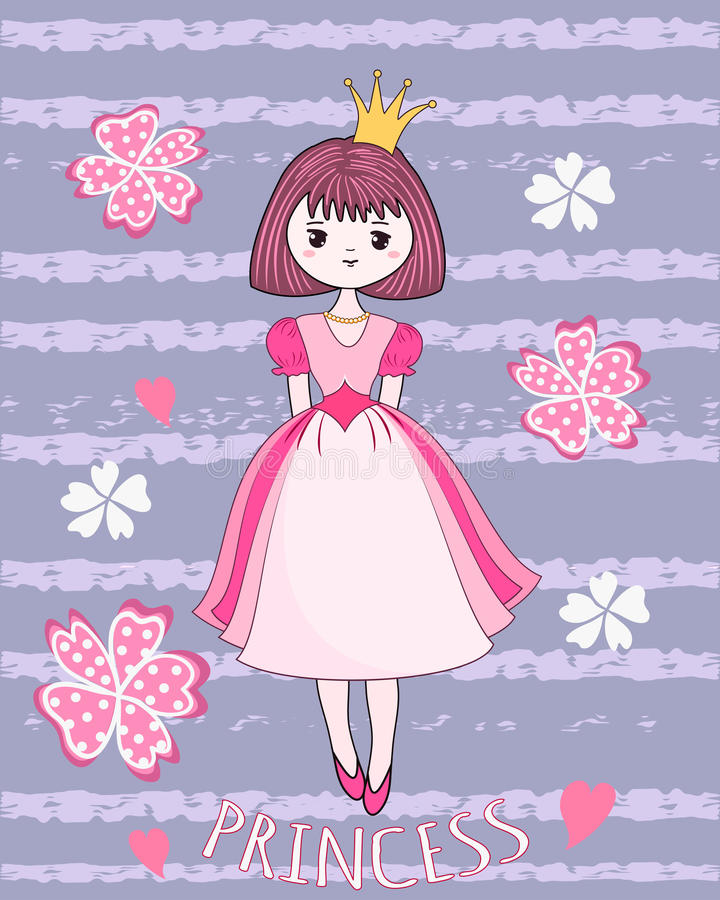 Nette Prinzessin auf dem Blumenhintergrund lizenzfreie abbildung