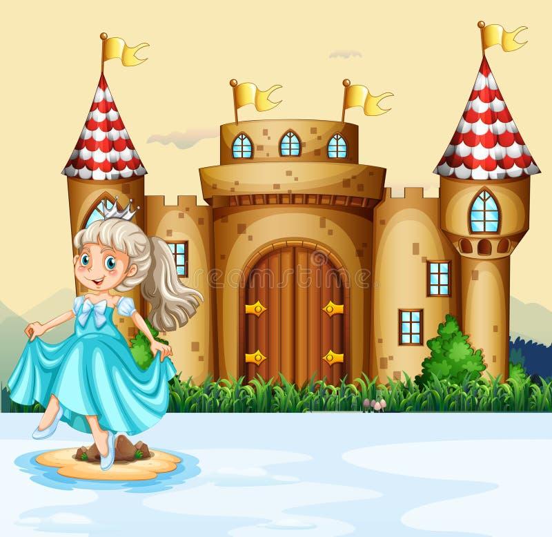 Nette Prinzessin am Palast vektor abbildung